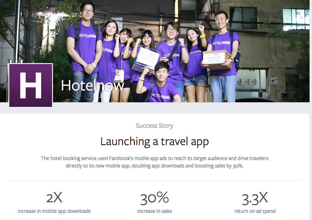 30% increase in sales and 3.3 times return on Ad Spend - HotelNow (origin: FB's success stories)