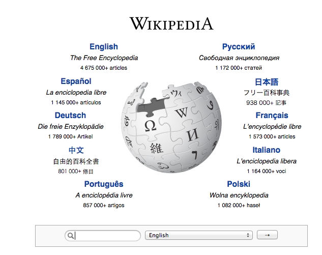 Wikipedia's home page, main languages and volume of articles for each language