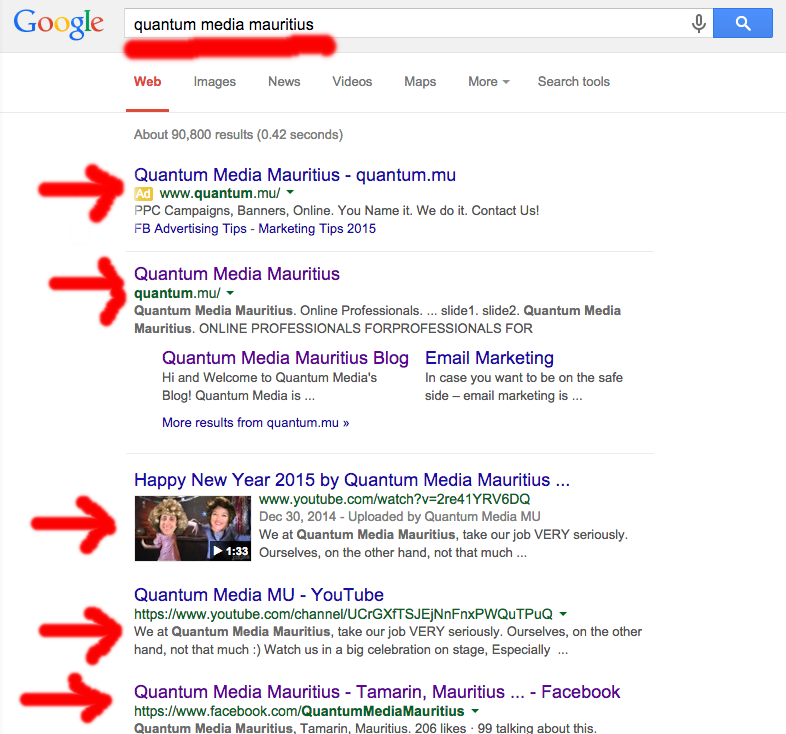 "SEO vs. SEM. Search results for ""Quantum Media Mauritius"" The 1st search result is sponsored and all the rest below are organic."