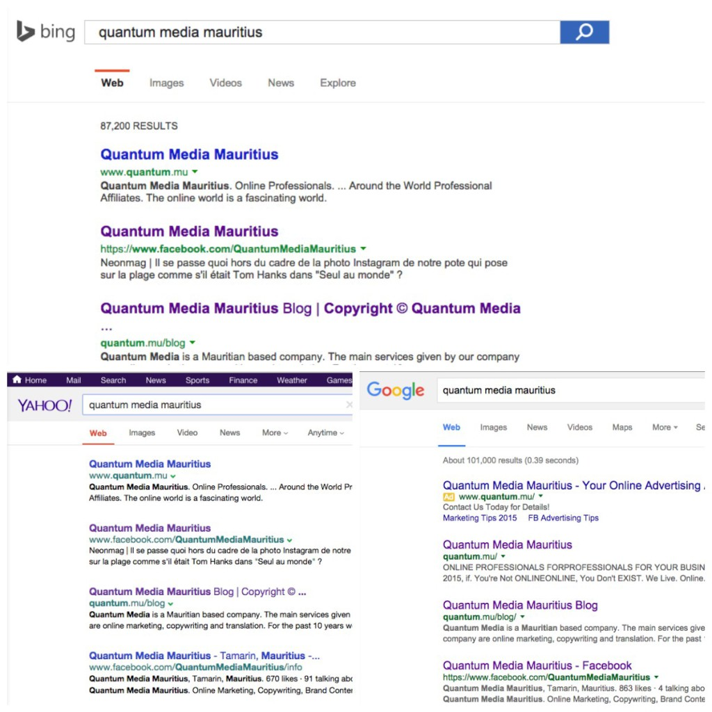 """Quantum Media Mauritius"" Search results on Google, Yahoo, Bing"
