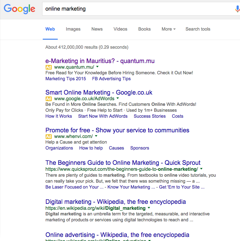 """Search Results for """"Online Marketing"""" in Google Mauritius, Quantum comes up at the top"""