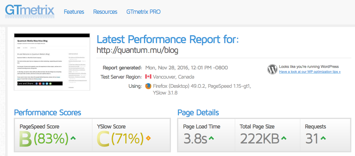 GTmetrix's score for Quantum's blog. Easy dashboard and much data that is analyzed.