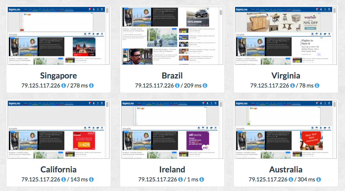 GeoPeeker shows you how fast your website loads from different countries. In the screenshot: results for lexpress.mu