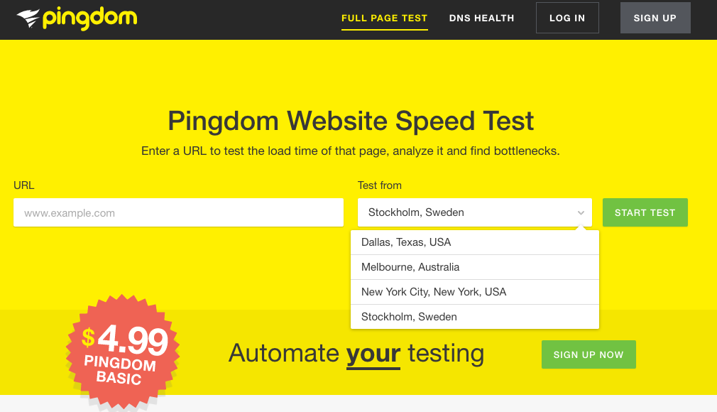 Pingdom - easily choose your location and test your website's speed